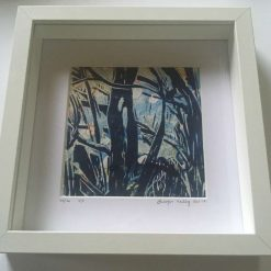'branching out' Framed Lino Print (40) / free p.p