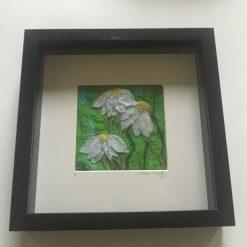 'White Daisy' Framed Needle felt and silk wall art / free p.p
