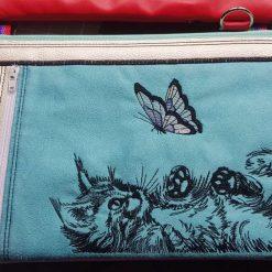 Cat/Kitten with Butterfly Triple Pocket Bag