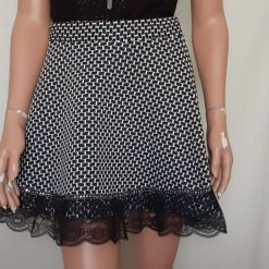 Black & White stretch A-line skirt with lace & sequins, size 10 8