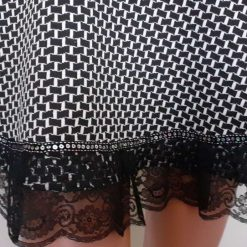 Black & White stretch A-line skirt with lace & sequins, size 10 9