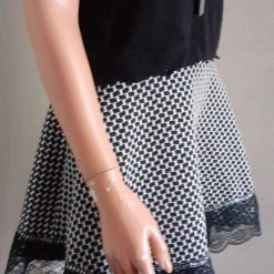 Black & White stretch A-line skirt with lace & sequins, size 10 10