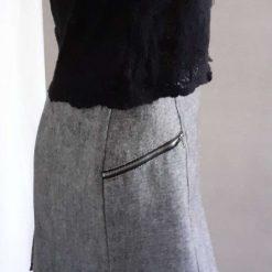 Grey pencil skirt with black trim size 12 6