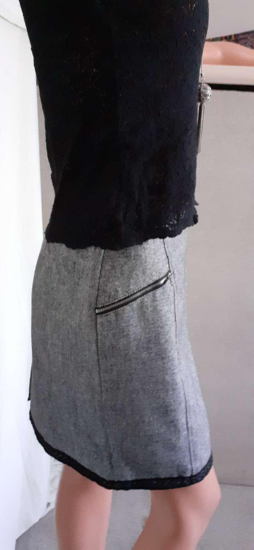 Grey pencil skirt with black trim size 12 3