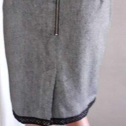 Grey pencil skirt with black trim size 12 7