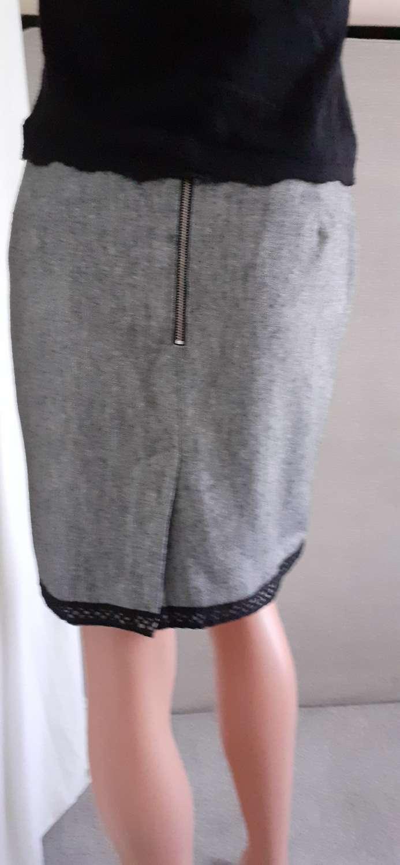 Grey pencil skirt with black trim size 12 4