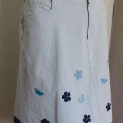 Ladies blue corduroy skirt with flower & butterfly motifs & blue trim, size 16 4