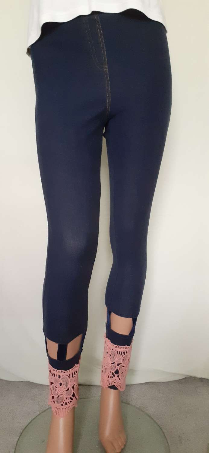 Ladies blue jeggings with cut-outs & pink lace trim, size 12 1