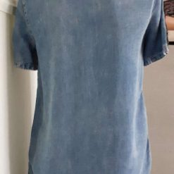 Ladies/girls blue tunic with denim patches, size 8-10 5