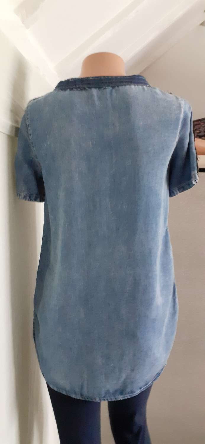 Ladies/girls blue tunic with denim patches, size 8-10 3