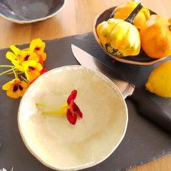 Hawaiian Blue handmade small bowl with unglazed edge