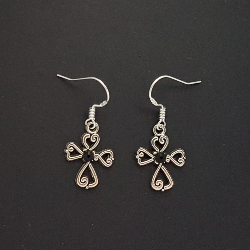 Earrings, Filigree Cross - Choice of Ball Studs or Wire Hooks 5