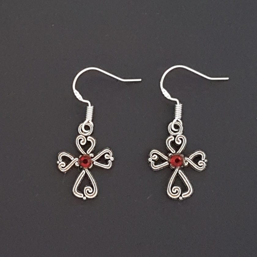 Earrings, Filigree Cross - Choice of Ball Studs or Wire Hooks 4