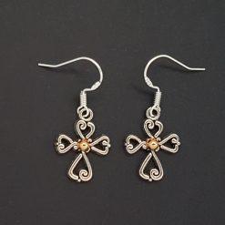Earrings, Filigree Cross - Choice of Ball Studs or Wire Hooks 7