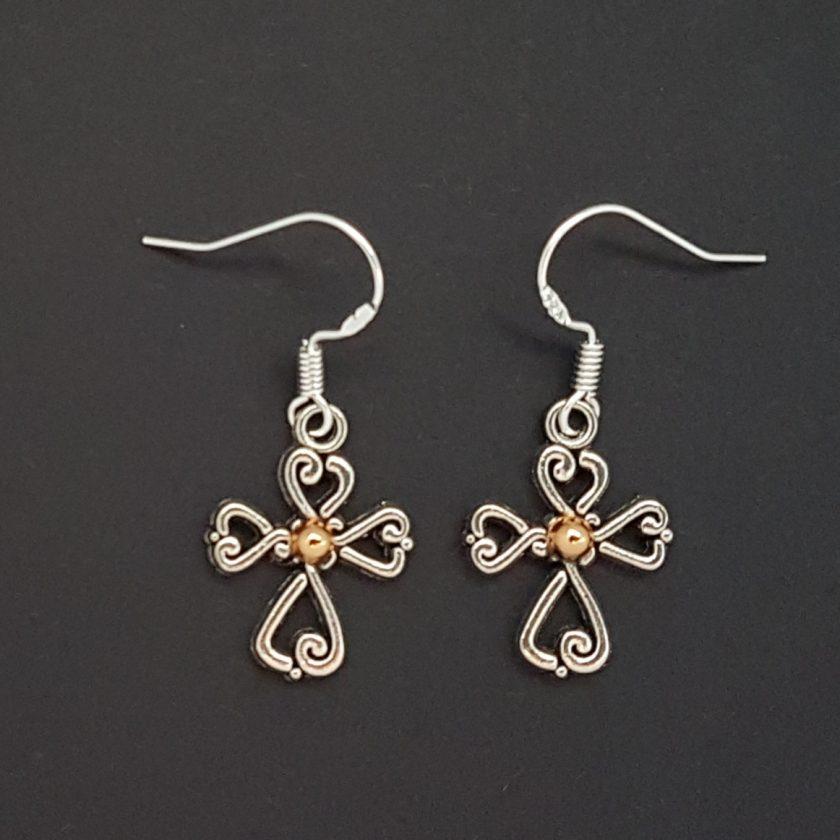 Earrings, Filigree Cross - Choice of Ball Studs or Wire Hooks 3