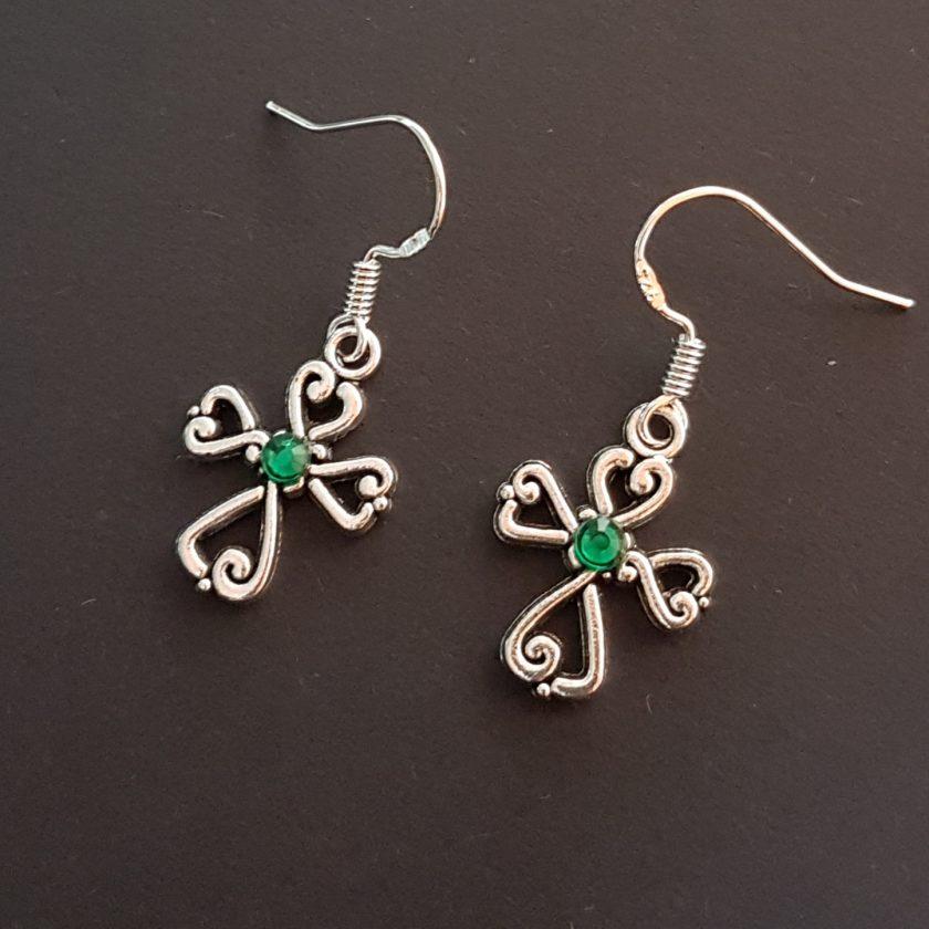 Earrings, Filigree Cross - Choice of Ball Studs or Wire Hooks 2