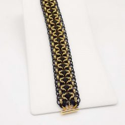 Handwoven Chainmaille Bracelet in Black and Gold Anodized Aluminium