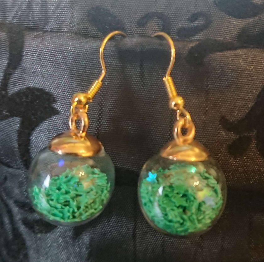 Glass Christmas bauble earrings 3
