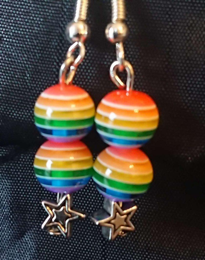 Rainbow beads earrings. LGBTQ 1