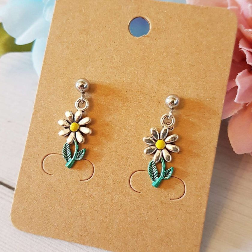 -Hand-Painted Silver or Blue Daisy Earrings - Choice of Ball Stud or Dangle 2