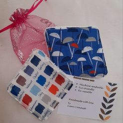 A set of 2 eco friendly reuseable makeup wipes.  Seasalt fabric. Organza gift bag included.
