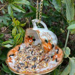 Vintage ribbed teacup bird feeder 3