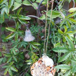 Vintage ribbed teacup bird feeder 4