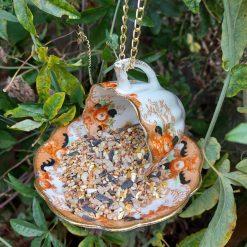 Vintage ribbed teacup bird feeder 5