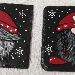 Hand painted slate coasters x2