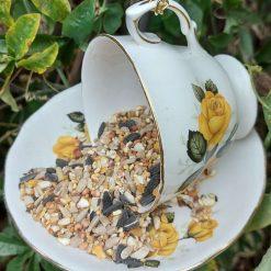 Vintage yellow roses teacup bird feeder