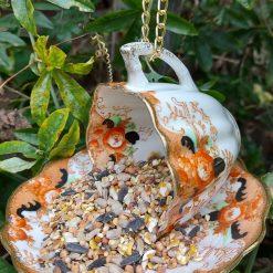 Vintage ribbed teacup bird feeder