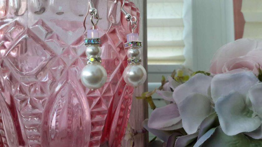 Opal Rose Snowgirl earrings 1