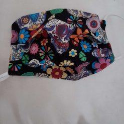 Face mask.  Skull and retro flowers design.