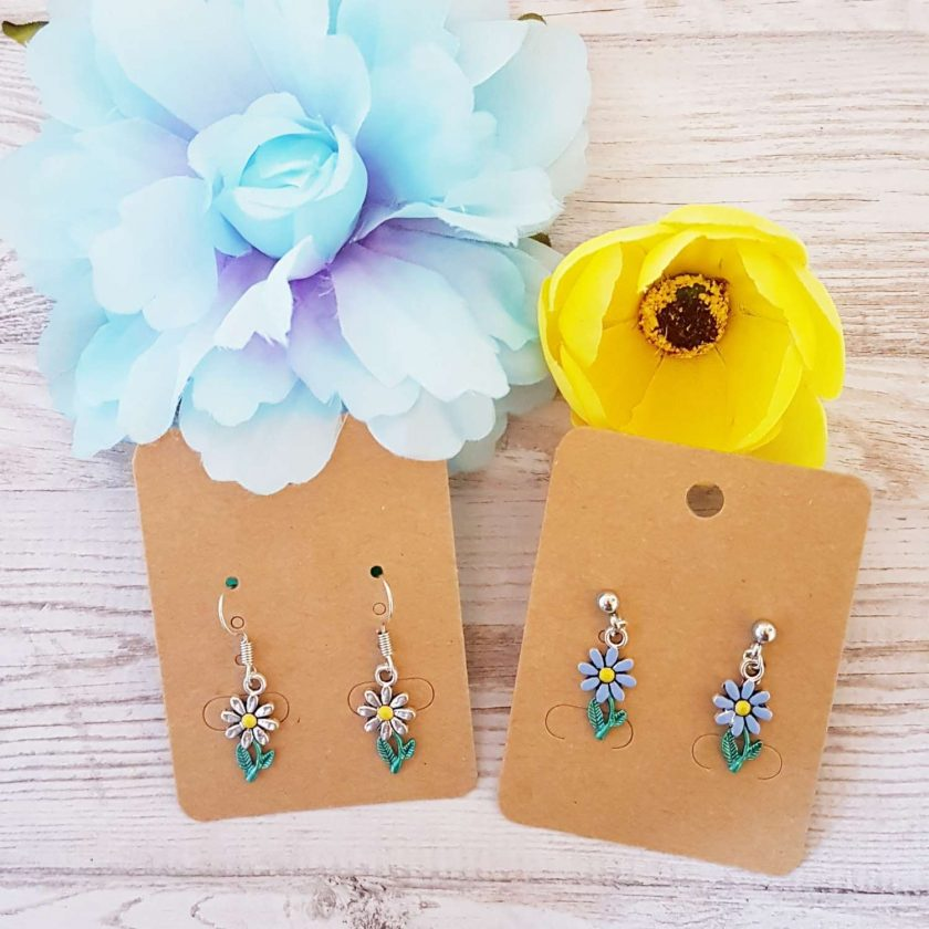 -Hand-Painted Silver or Blue Daisy Earrings - Choice of Ball Stud or Dangle 1