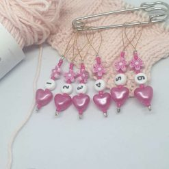 Love Heart Knitting Markers and Holder Pin