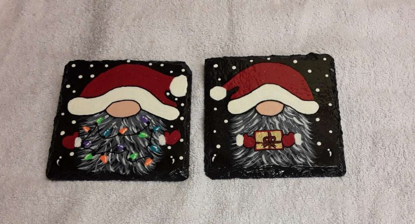 Design 2 Hand painted slate coasters x2 3