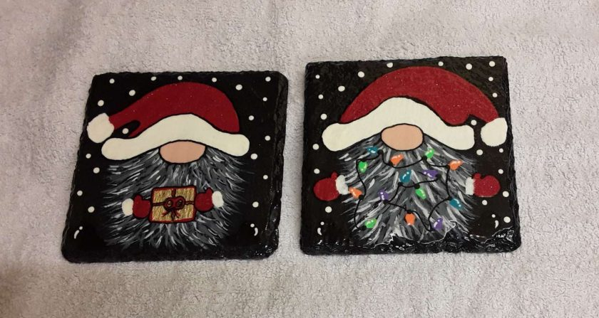 Design 2 Hand painted slate coasters x2 1