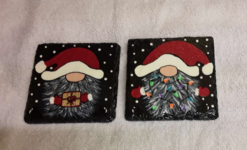 Design 2 Hand painted slate coasters x2 2