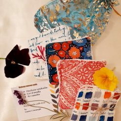 A set of 4 eco friendly reuseable makeup wipes. Surprise selection  Seasalt  fabric surprise selection. Organza gift bag included.