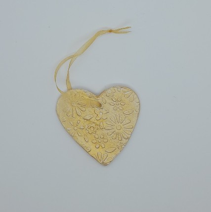 Romantic Valentine gift - Set of 2 gold clay hearts 2