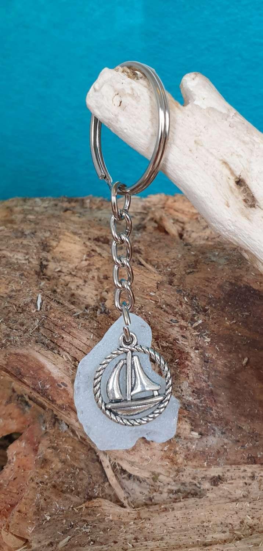 Cornish Sea Glass Key Ring #2 1