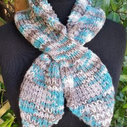 Handmade knitted keyhole scarf ....turquoise/neutral. 4