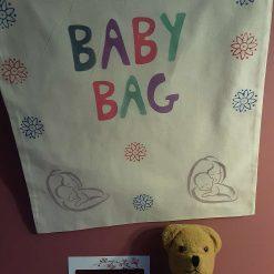 Handprinted drawstring baby accessories bag