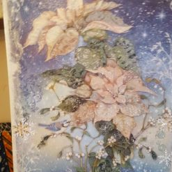 Christmas/Winter Ponsietta White on canvas. Size A3 7