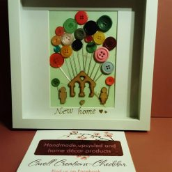 Button art 'New home' themed box frame.