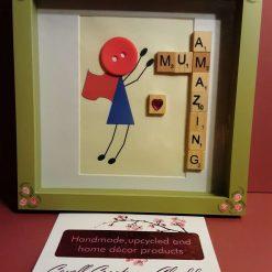 Button and scrabble 'Mum' themed box framed art.