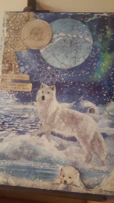 Snow Wolf Arctic Aurora (A4 canvas) 1