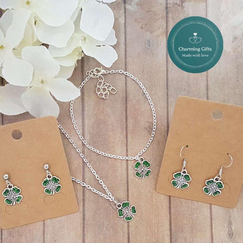 - Clover Shamrock Lucky Pendant Necklace, Earrings, Bracelet, Jewellery (Priced Individually) 5