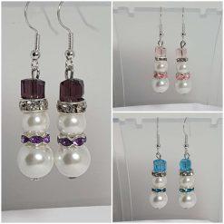 Silver Christmas snowman earrings