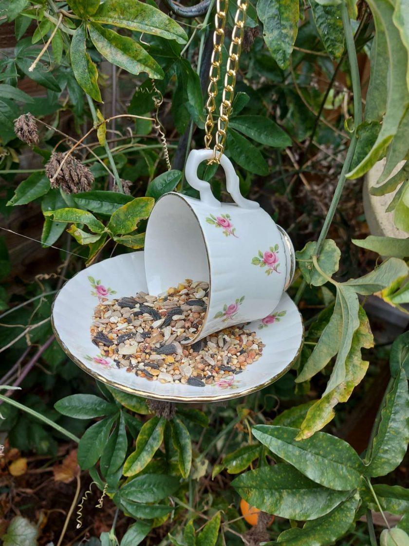 Vintage pink rosebuds teacup bird feeder